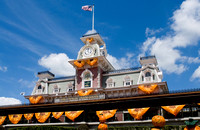 "Main Street Train Station (decorated for Mickey's ""not so scary"" Halloween)"